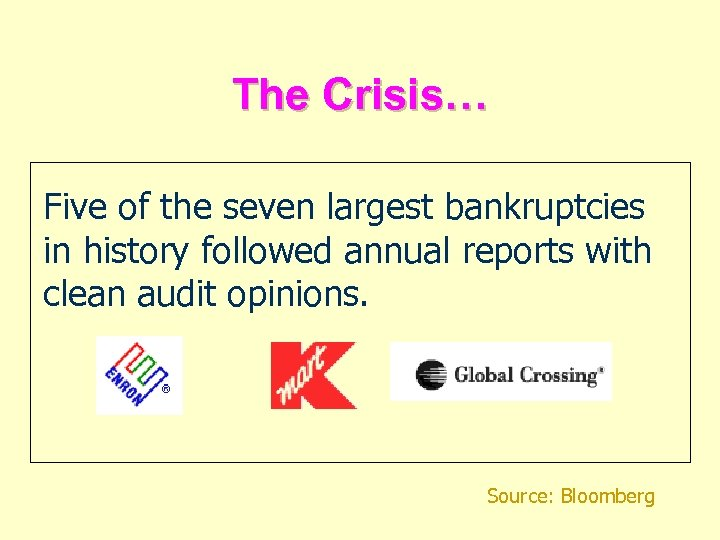 The Crisis… Five of the seven largest bankruptcies in history followed annual reports with