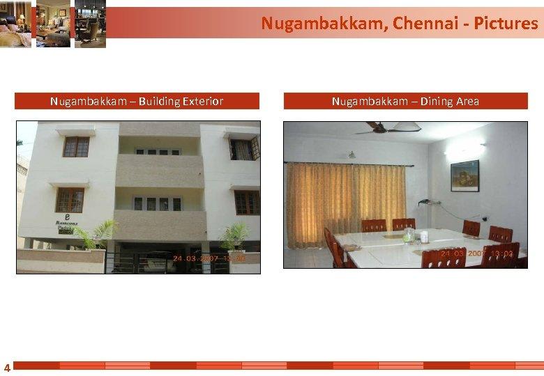 Nugambakkam, Chennai - Pictures Nugambakkam – Building Exterior 4 Nugambakkam – Dining Area