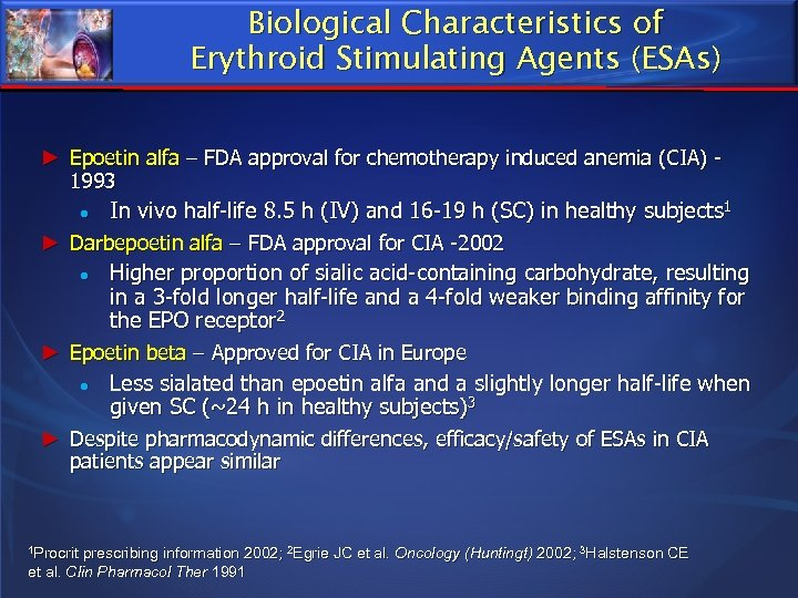 Biological Characteristics of Erythroid Stimulating Agents (ESAs) ► Epoetin alfa – FDA approval for