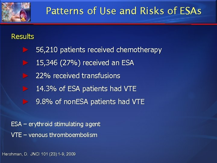 Patterns of Use and Risks of ESAs Results ► 56, 210 patients received chemotherapy