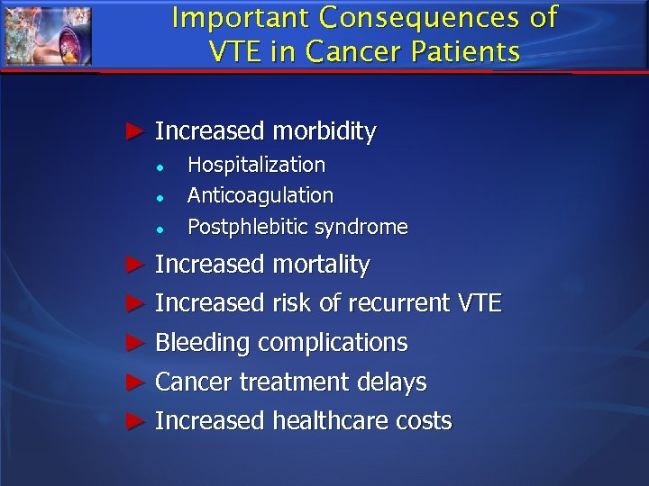 Important Consequences of VTE in Cancer Patients ► Increased morbidity ● ● ● Hospitalization