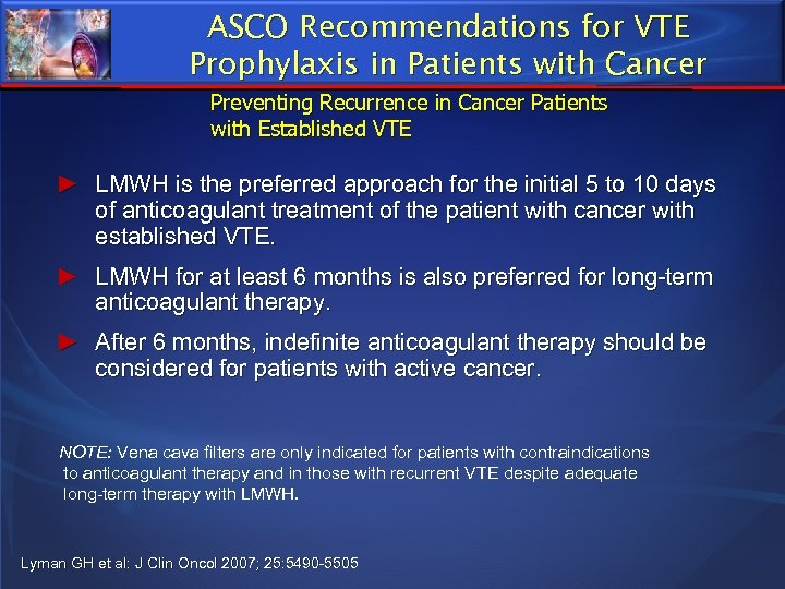 ASCO Recommendations for VTE Prophylaxis in Patients with Cancer Preventing Recurrence in Cancer Patients