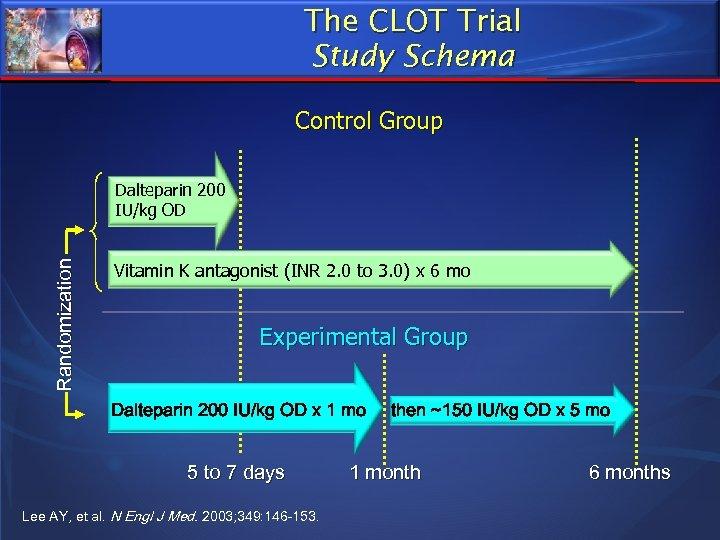 The CLOT Trial Study Schema Control Group Randomization Dalteparin 200 IU/kg OD Vitamin K