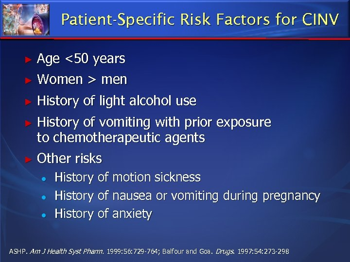 Patient-Specific Risk Factors for CINV ► Age <50 years ► Women > men ►