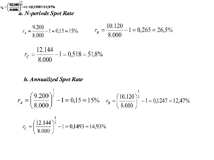 a. N-periods Spot Rate b. Annualized Spot Rate