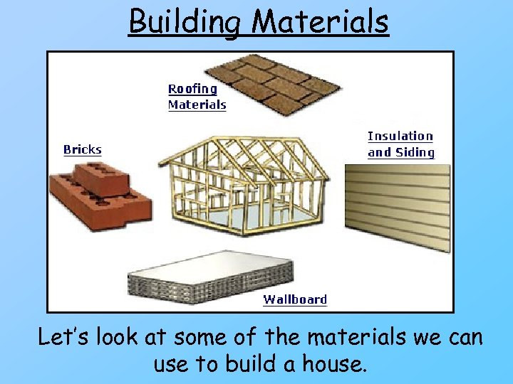 Building Materials Let's look at some of the materials we can use to build