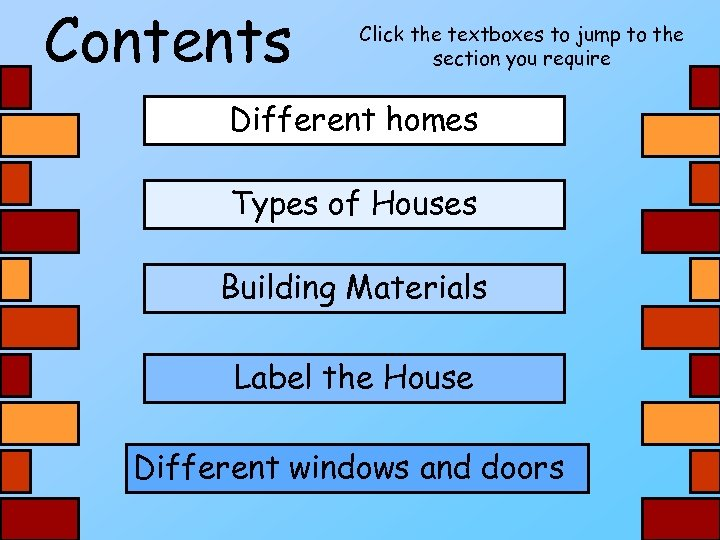 Contents Click the textboxes to jump to the section you require Different homes Types