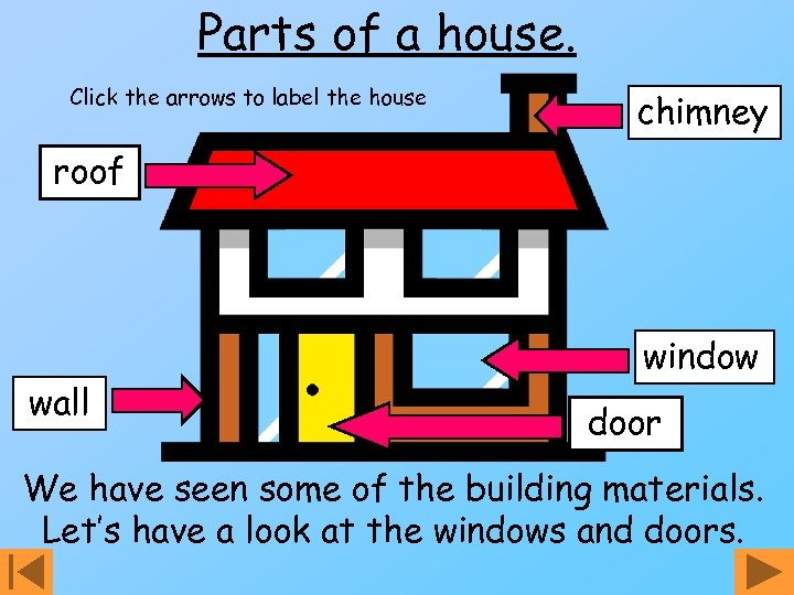 Parts of a house. Click the arrows to label the house chimney roof wall