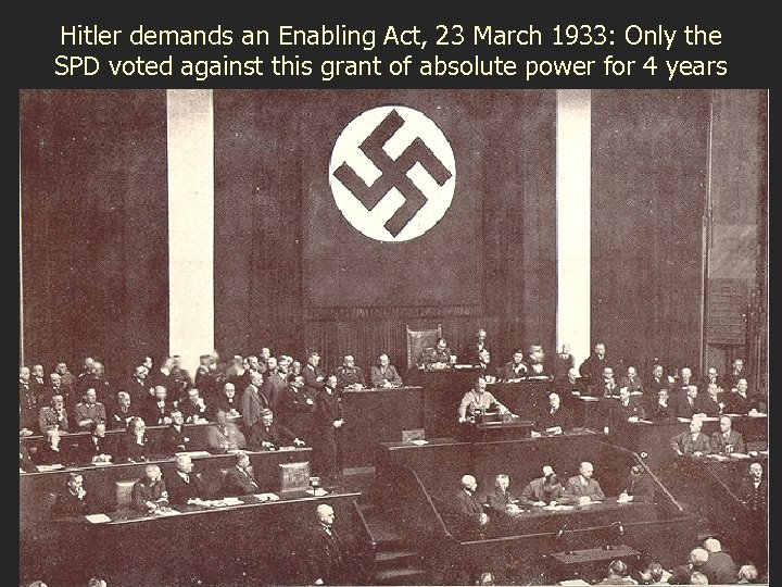 Hitler demands an Enabling Act, 23 March 1933: Only the SPD voted against this