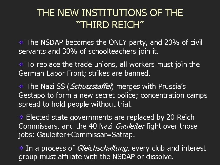 """THE NEW INSTITUTIONS OF THE """"THIRD REICH"""" The NSDAP becomes the ONLY party, and"""