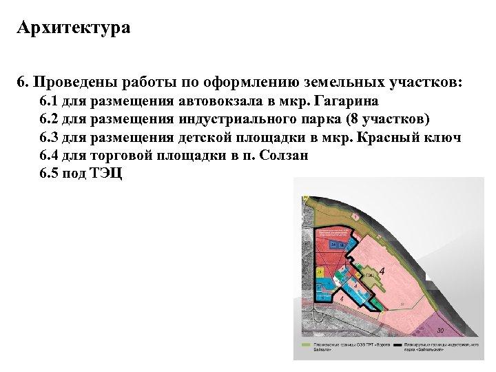 Архитектура 6. Проведены работы по оформлению земельных участков: 6. 1 для размещения автовокзала в