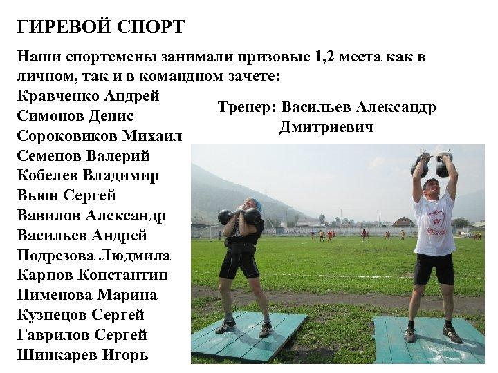 ГИРЕВОЙ СПОРТ Наши спортсмены занимали призовые 1, 2 места как в личном, так и