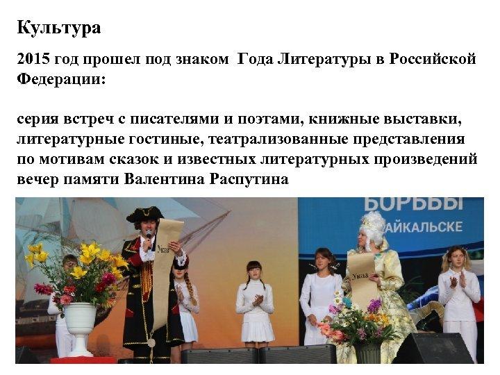 Культура 2015 год прошел под знаком Года Литературы в Российской Федерации: серия встреч с