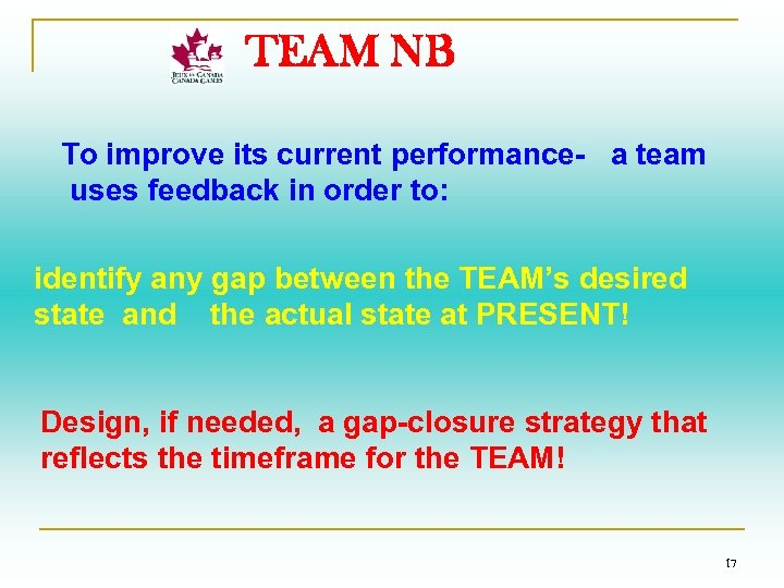 TEAM NB To improve its current performance- a team uses feedback in order to: