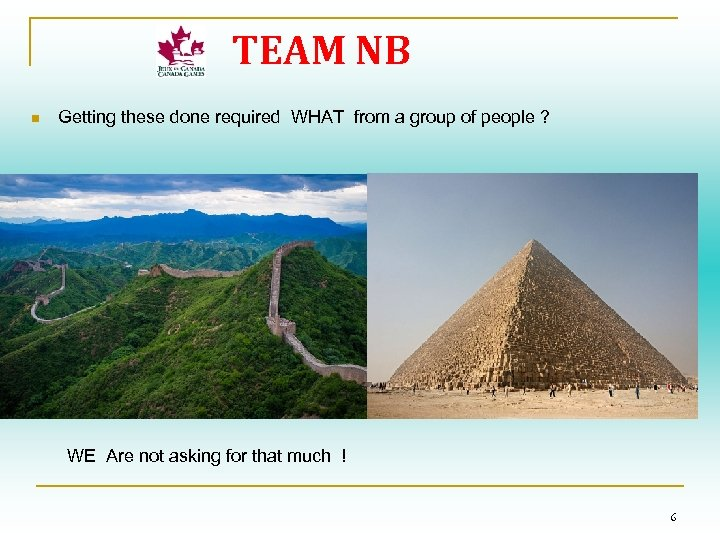 TEAM NB n Getting these done required WHAT from a group of people ?