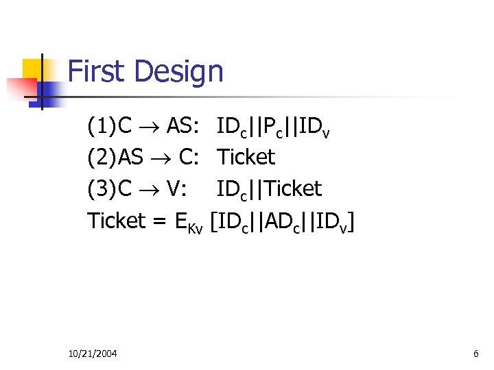 First Design (1)C AS: (2)AS C: (3)C V: Ticket = EKv 10/21/2004 IDc||Pc||IDv Ticket