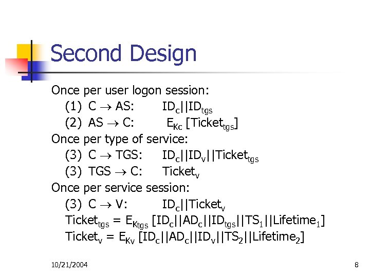 Second Design Once per user logon session: (1) C AS: IDc||IDtgs (2) AS C: