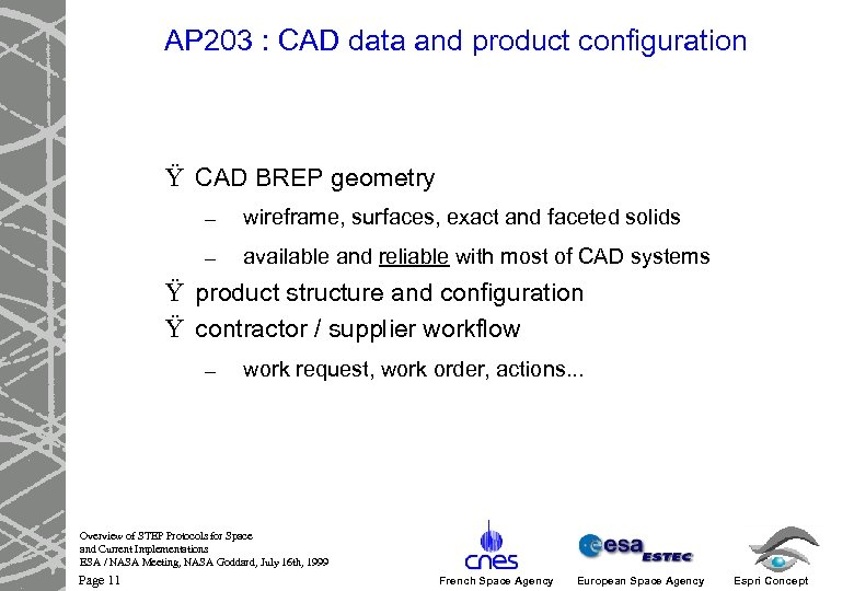 AP 203 : CAD data and product configuration Ÿ CAD BREP geometry – wireframe,