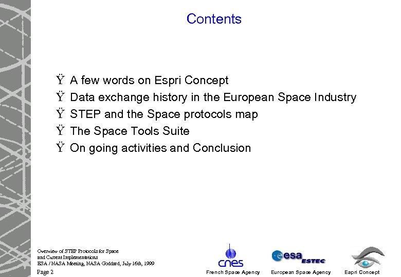 Contents Ÿ Ÿ Ÿ A few words on Espri Concept Data exchange history in