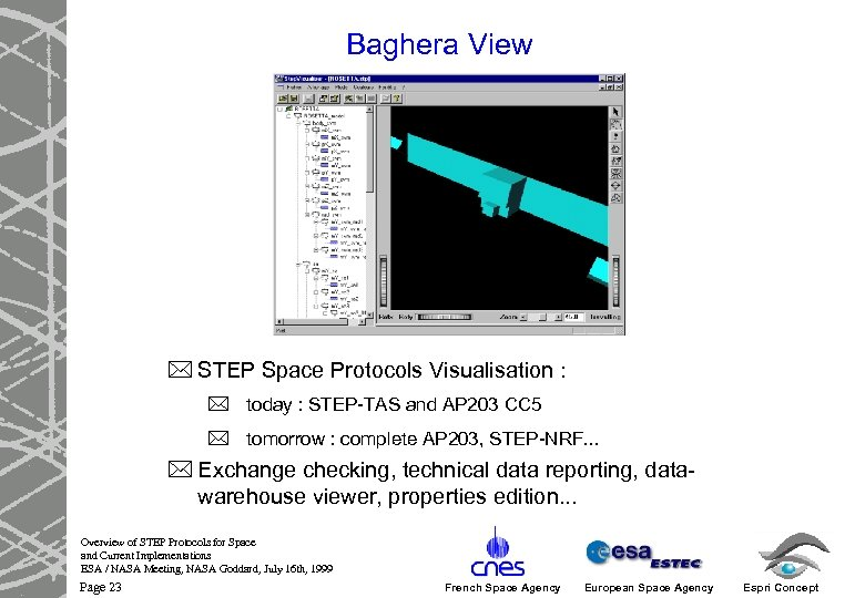 Baghera View * STEP Space Protocols Visualisation : * today : STEP-TAS and AP