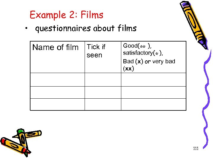 Example 2: Films • questionnaires about films Name of film Tick if seen Good(☆☆