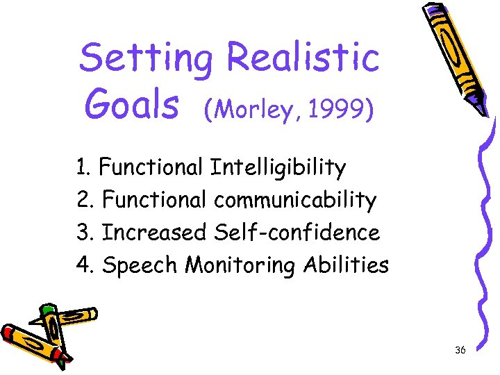 Setting Realistic Goals (Morley, 1999) 1. Functional Intelligibility 2. Functional communicability 3. Increased Self-confidence