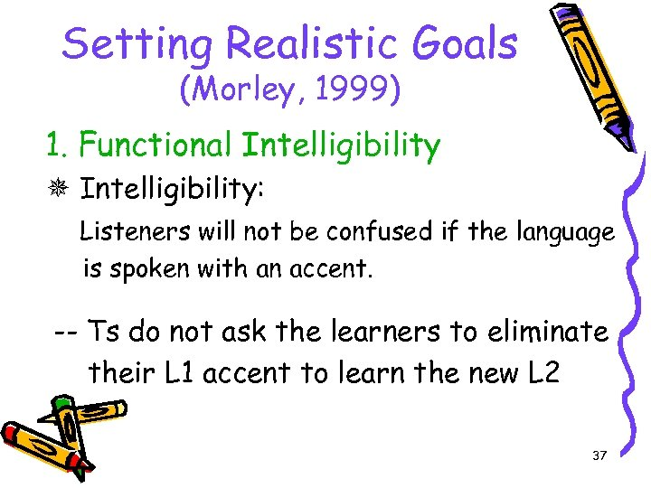Setting Realistic Goals (Morley, 1999) 1. Functional Intelligibility: Listeners will not be confused if