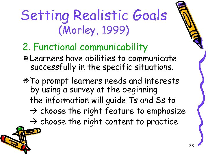 Setting Realistic Goals (Morley, 1999) 2. Functional communicability Learners have abilities to communicate successfully
