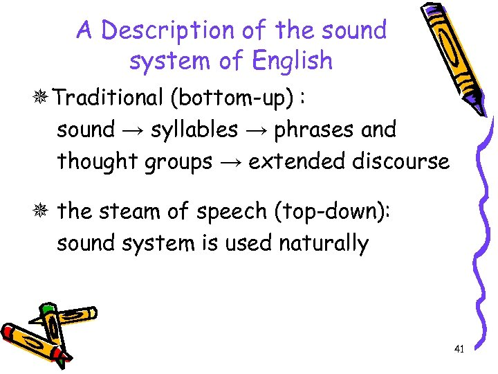 A Description of the sound system of English Traditional (bottom-up) : sound → syllables