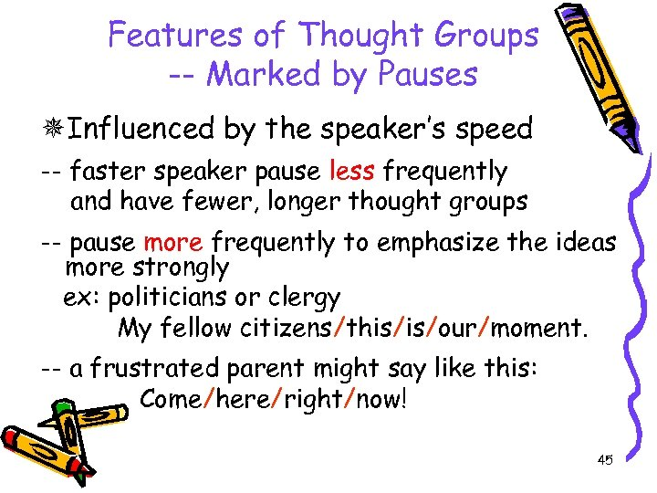 Features of Thought Groups -- Marked by Pauses Influenced by the speaker's speed --