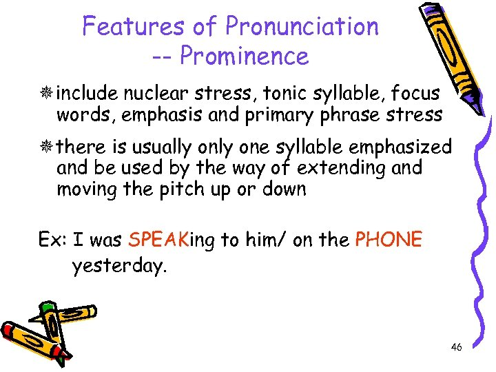 Features of Pronunciation -- Prominence include nuclear stress, tonic syllable, focus words, emphasis and