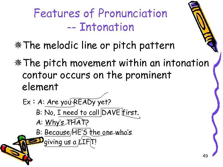 Features of Pronunciation -- Intonation The melodic line or pitch pattern The pitch movement
