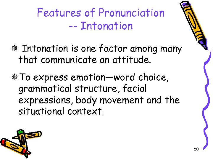 Features of Pronunciation -- Intonation is one factor among many that communicate an attitude.