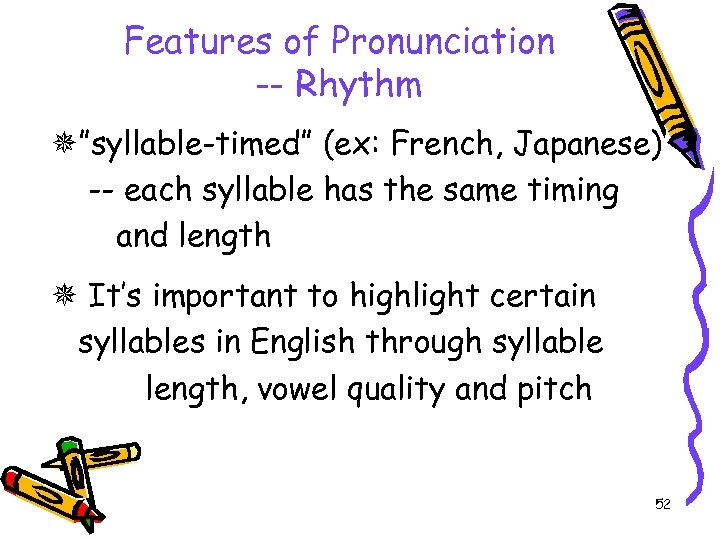 """Features of Pronunciation -- Rhythm """"syllable-timed"""" (ex: French, Japanese) -- each syllable has the"""