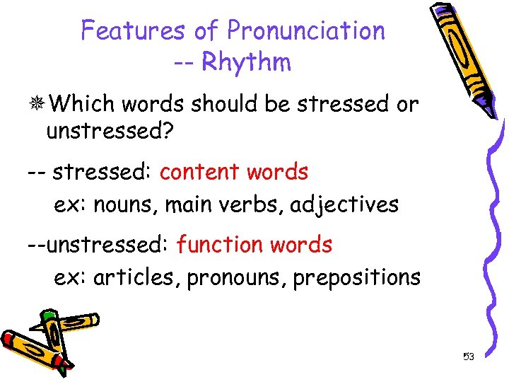Features of Pronunciation -- Rhythm Which words should be stressed or unstressed? -- stressed: