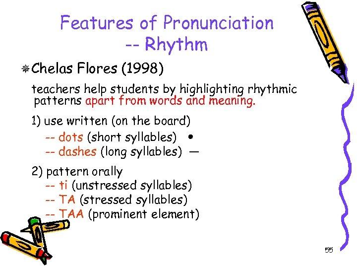 Features of Pronunciation -- Rhythm Chelas Flores (1998) teachers help students by highlighting rhythmic