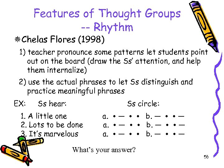 Features of Thought Groups -- Rhythm Chelas Flores (1998) 1) teacher pronounce some patterns