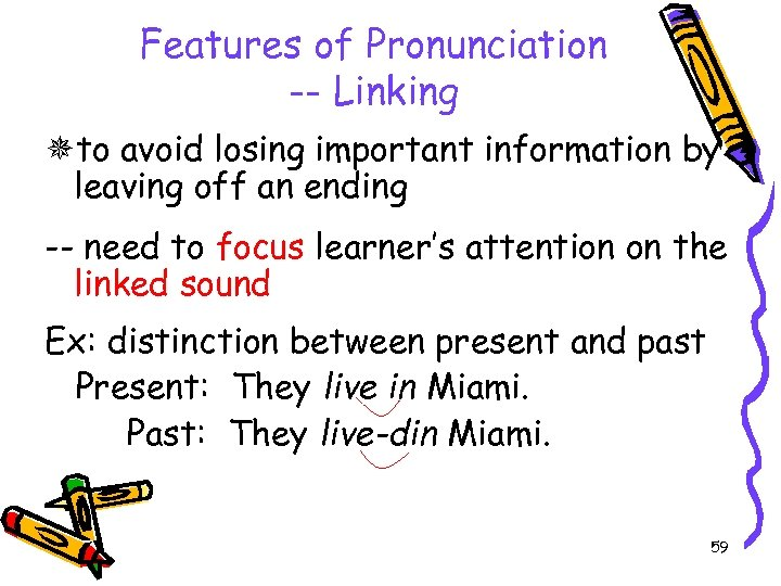Features of Pronunciation -- Linking to avoid losing important information by leaving off an