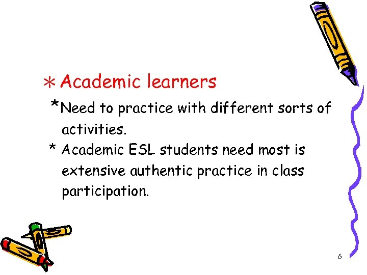 *Academic learners *Need to practice with different sorts of activities. * Academic ESL students