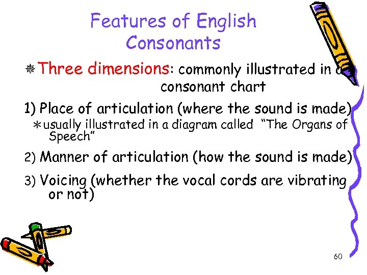 Features of English Consonants Three dimensions: commonly illustrated in a consonant chart 1) Place