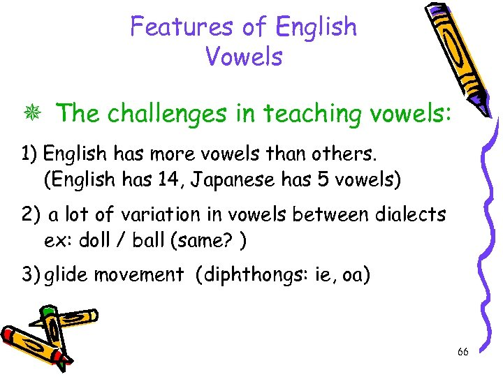 Features of English Vowels The challenges in teaching vowels: 1) English has more vowels