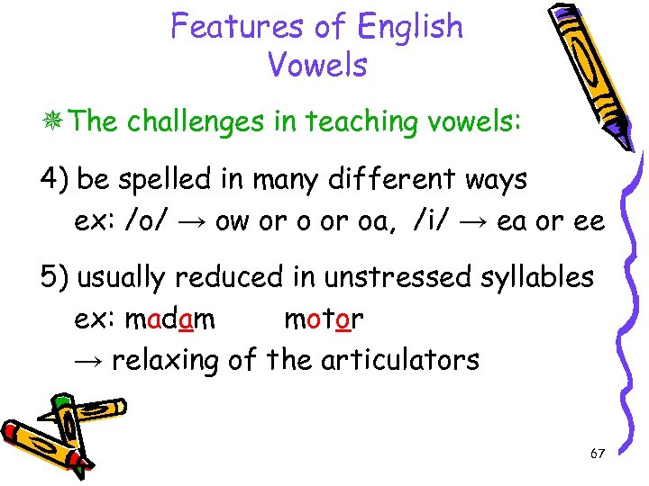 Features of English Vowels The challenges in teaching vowels: 4) be spelled in many