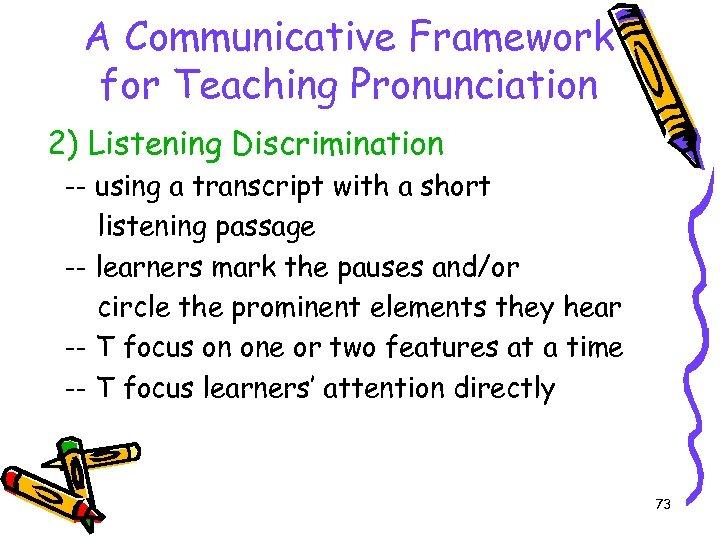 A Communicative Framework for Teaching Pronunciation 2) Listening Discrimination -- using a transcript with