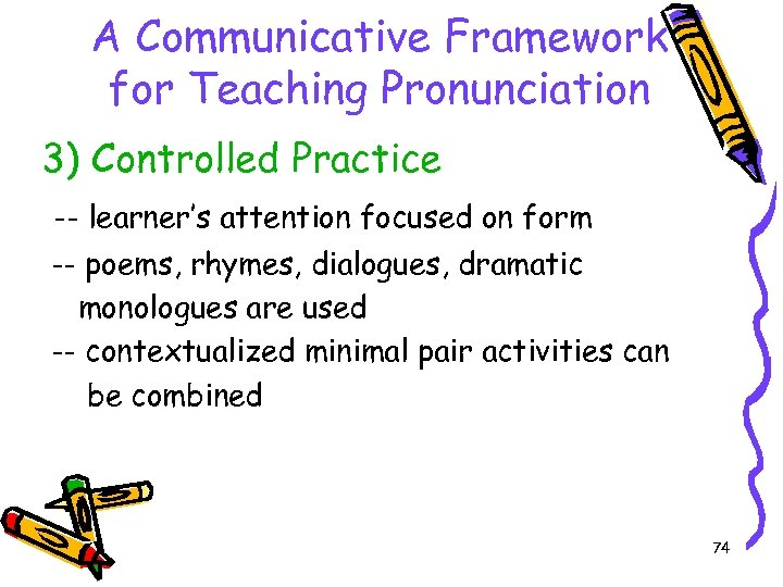A Communicative Framework for Teaching Pronunciation 3) Controlled Practice -- learner's attention focused on