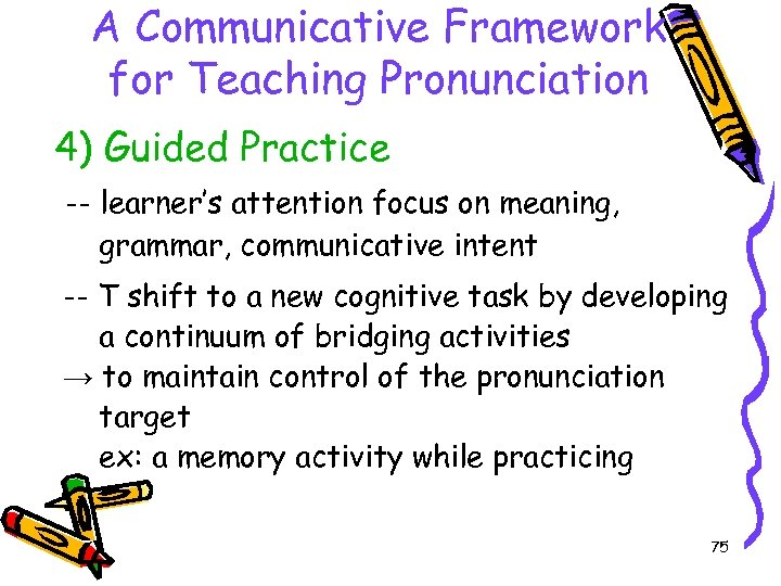 A Communicative Framework for Teaching Pronunciation 4) Guided Practice -- learner's attention focus on