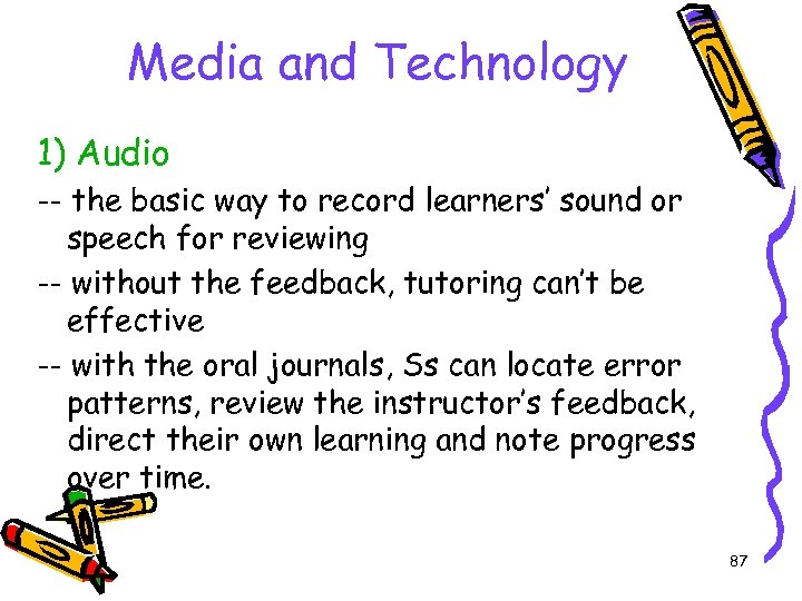 Media and Technology 1) Audio -- the basic way to record learners' sound or