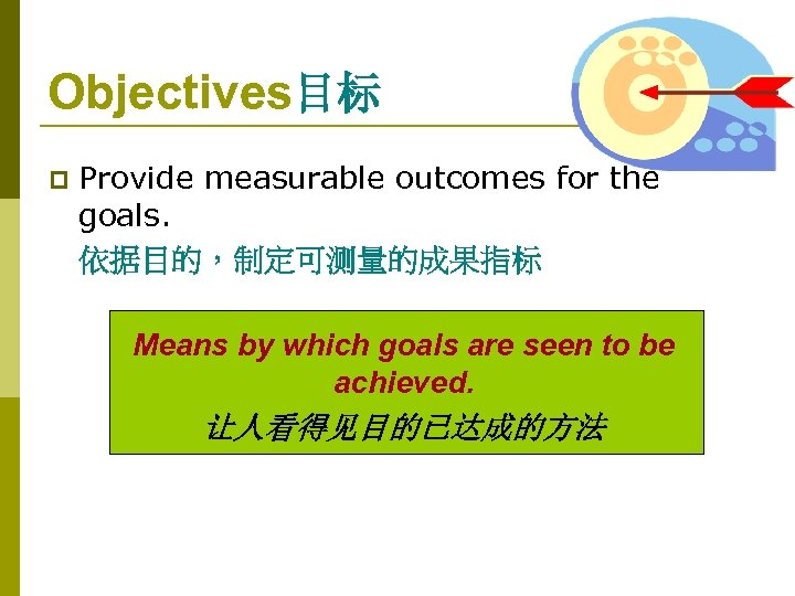 Objectives目标 p Provide measurable outcomes for the goals. 依据目的,制定可测量的成果指标 Means by which goals are