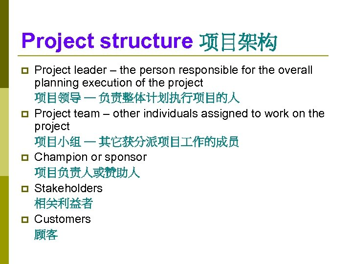 Project structure 项目架构 p p p Project leader – the person responsible for the