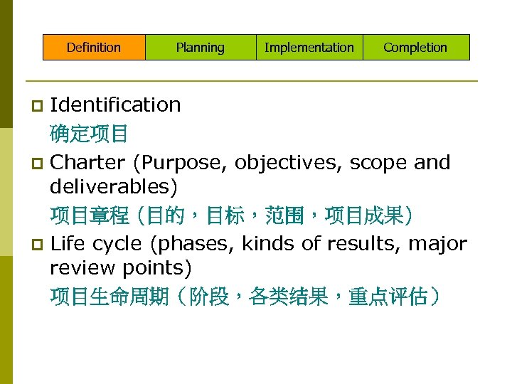 Definition Planning Implementation Completion Identification 确定项目 p Charter (Purpose, objectives, scope and deliverables) 项目章程