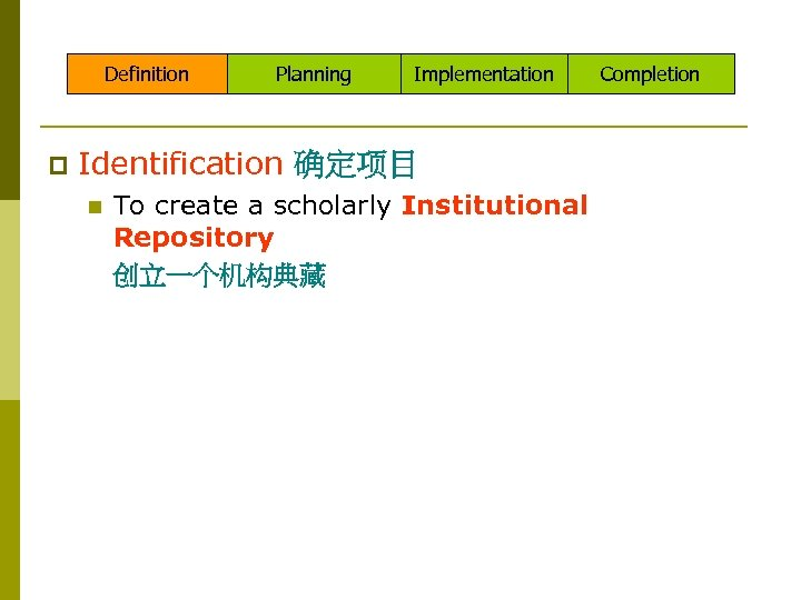 Definition p Planning Implementation Identification 确定项目 n To create a scholarly Institutional Repository 创立一个机构典藏